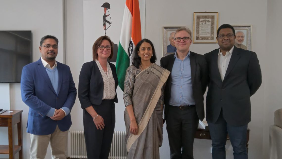 Founders of VentureVillage with Her Excellency Ambassador of India in Finland Mrs Vani Rao, and representatives of HY+