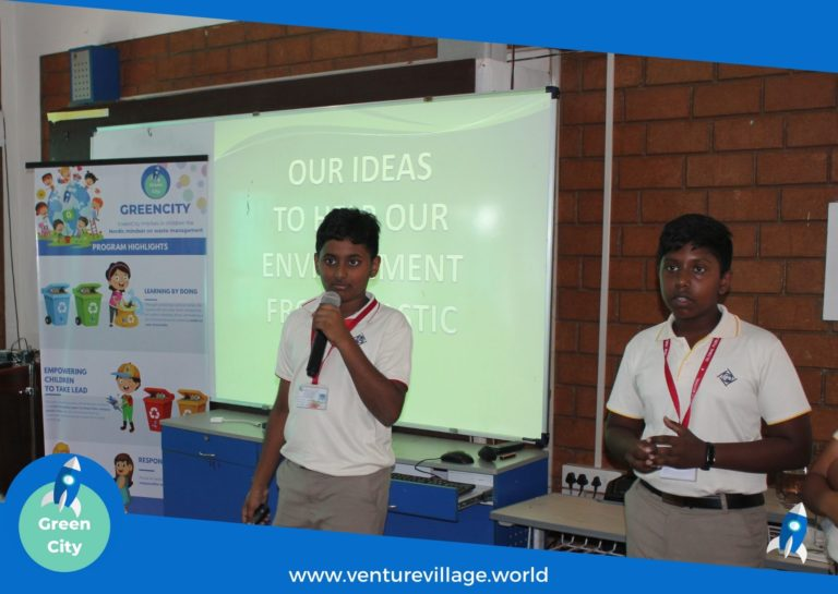 Students of Grade 6 and 7 presenting their ideas on Waste management